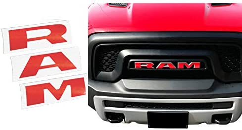 1pc RAM Grille Front Decal Sticker Letters Replacement Fit for 2019 Ram Rebel Red