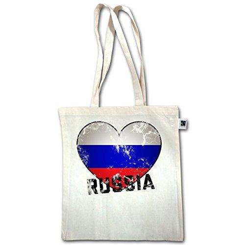 Fußball-Weltmeisterschaft 2018 - Russia Herz Vintage - Unisize - Natural - XT600 - Jutebeutel lange Henkel 7NeLA6