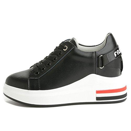 JRenok Femme de Compensé Loisir Sports Noir Casuel Haute 7 Lacets Blanc cm Chaussures Mode Sneakers en Baskets Cuir à rfFgxrnw