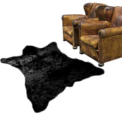 Faux Fur Black Bearskin Pelt Shaggy Shag Accent Lodge Cabin Area Rug (Bear Skin Blanket)