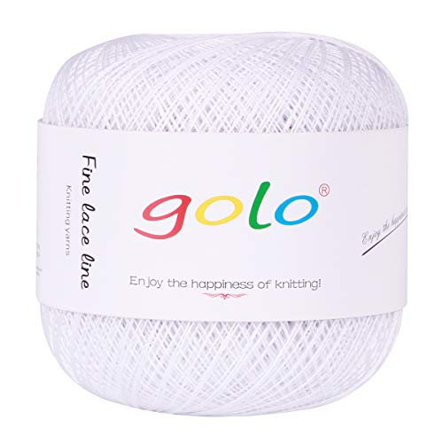 Crochet Thread Yarns for Begingers Size8-100% Contton Yarn for Knitting Crochet DIY Hardanger Cross Sitch Crochet Thread Balls Rainbow Turquoise 31 Colors Avilable (Pure White)