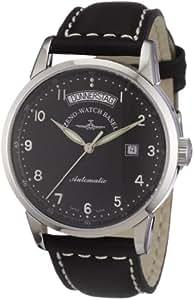 Zeno Watch Basel Magellano 6069DD-c1 - Reloj de caballero automático, correa de piel color negro