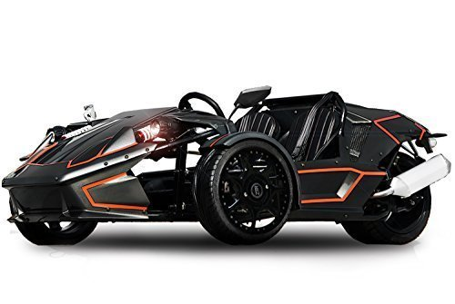 ZTR 250cc Roadster 4V Trike 4-Gang + Rückwärtsgang Quad ATV Bike EEC (Weiß mit Schwarzen Streifen)