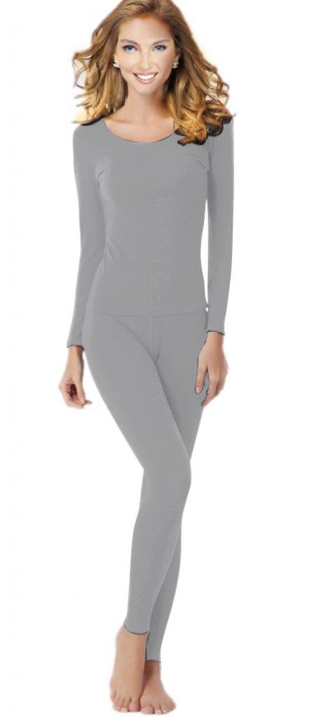 uYES Women's Thermal Underwear Set Top & Bottom Fleece Lined, W1 Light Gray, Medium by uYES