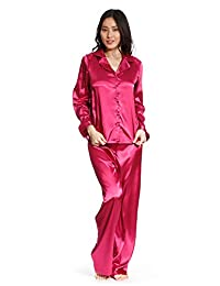 Jones New York Women's Long Sleeve & Pant Silk Pajamas (Set of 2)