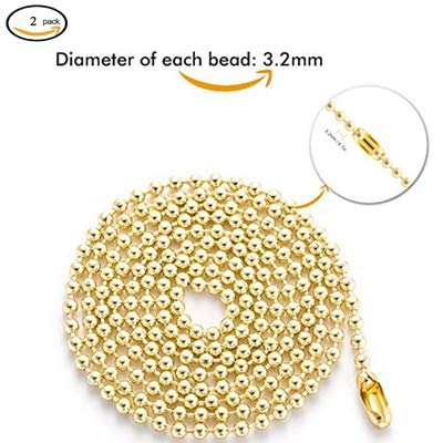 Lamp Base - 6M Beaded Pull Chain Extension With 5 Connector Beaded Roller Chain Connectors Bronze Hanging Lighting Chain Accessories - (Color: Gold)