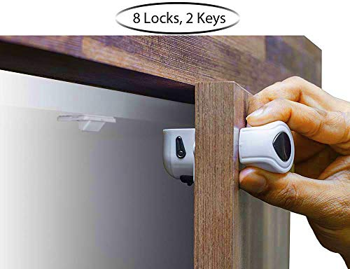 Cabinet Locks Child Safety for Baby Proof with Magnetic Key and 3M Adhesive No Tools or Drill by Scalechrome (8 Locks, 2 Keys, White)