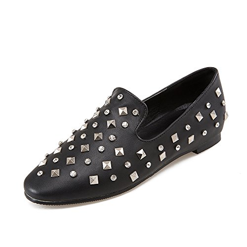 JIEEME Ladies Spring Pointed Toe Rivets Women Espadrilles Low Heels White Black Single Shoes Black 4khNPLiPJY