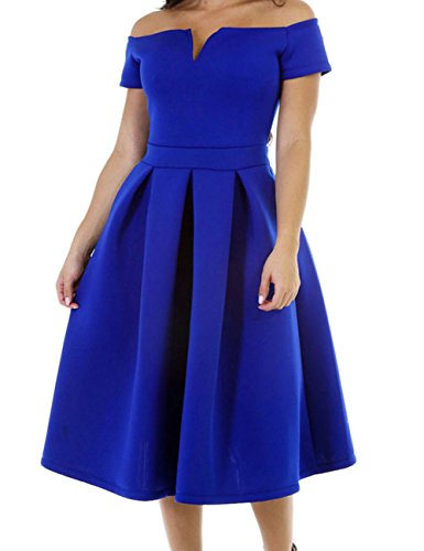 DH-MS Dress Women's Solid Blue Thick Flare Midi Vintage Dress L