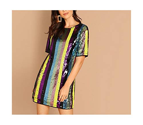 - Tunic Striped Sexy Sequin Dress Women Spring Short Sleeve Fashion Korean Club Mini Party Dress