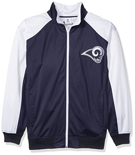 (NFL Los Angeles Rams Men FULL ZIP TRICOT TRACK JACK, NVY/WHITE, 5X)