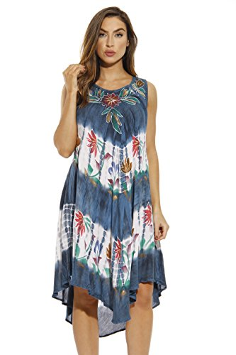 Riviera Sun 21663-BLU-S Summer Dresses/Swimsuit Cover Up