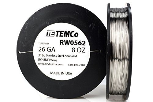 TEMCo Stainless Steel Wire SS 316L - 26 Gauge 8 oz (734 ft) Non-Resistance AWG ga by Temco