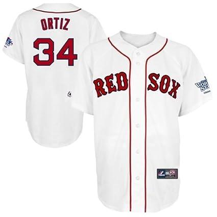 Majestic David Ortiz Boston Red Sox 2013 World Series Champions Patch Home  White Replica Jersey XXXX b04c8904a56