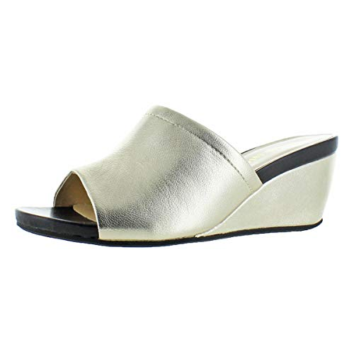 David Tate Womens Slide - David Tate Women's Mint Lambskin Open-Toe Wedge Slide Sandal Gold Size 8