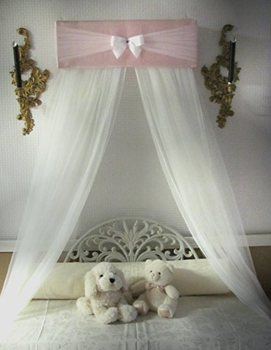 Bedroom-Girls-Bed-Crib-Canopy-Rose-Pink-Ivory-tulle-netting-with-WHITE-sheer-curtains-by-So-Zoey-Boutique-SALE