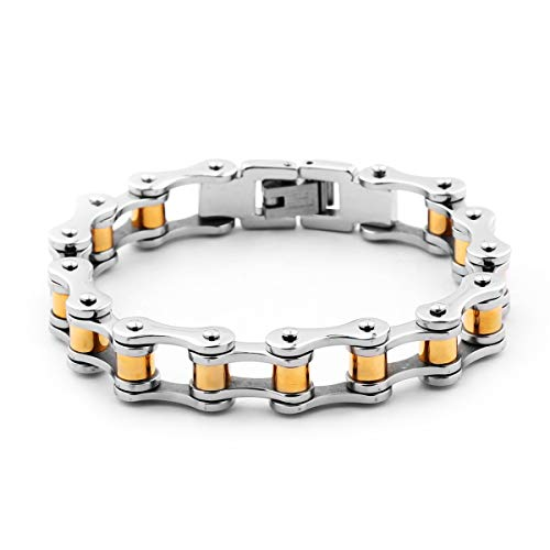 MASOP Stainless Steel Bicycle Chain Bracelet for Men Motorcycle Bike Link Bangle Silver and Gold Color for Bikers