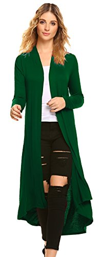 (POGTMM Women's Long Open Front Drape Lightweight Maix Long Sleeve Cardigan Sweater (US M(8-10, Green))