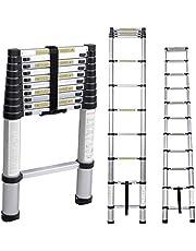 SogesHome 10.5ft Aluminum Folding Ladder Telescopic Extension Ladder Extendable Telescoping Ladder with Spring Loaded Locking Mechanism Non-Slip Ribbing 330lbs Capacity EN131 Certified, NSDCA-JF-007
