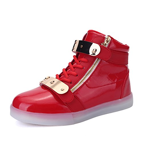 Joansam Led Shoes High Top Uomo & Donna Light Up Shoes Sneakers In Metallo Con Carica Lampo In Metallo Rosso Lampeggiante
