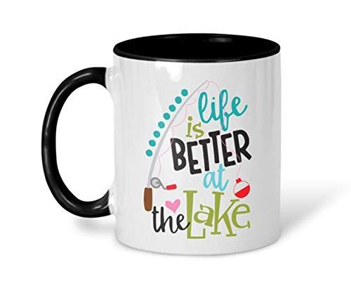 SkyLine902 - Fishing Mug, Fishing Life Cup, Life is Better at the Lake Coffee Mug, Fishing Pole, Lake Life Mug, Colorful Lake Mug, 11oz Ceramic Coffee Novelty Mug/Cup