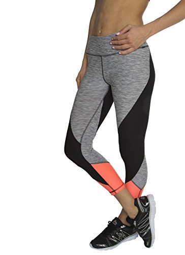 RBX Active Women's Angular Color-Blocked Capri Length Yoga Pants Grey Striated / Orange Combo Small