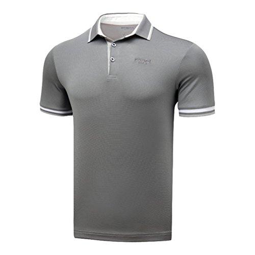 Kayiyasu ポロシャツ メンズ ゴルフウェア UVカット ゴルフシャツ オシャレ スポーツシャツ 男性用 半袖 Tシャツ 運動着 日焼け止め 021-xsty-yf133(XL グレー)
