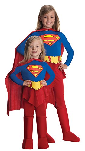 Girls Supergirl Kids Child Fancy Dress Party Halloween Costume, L -