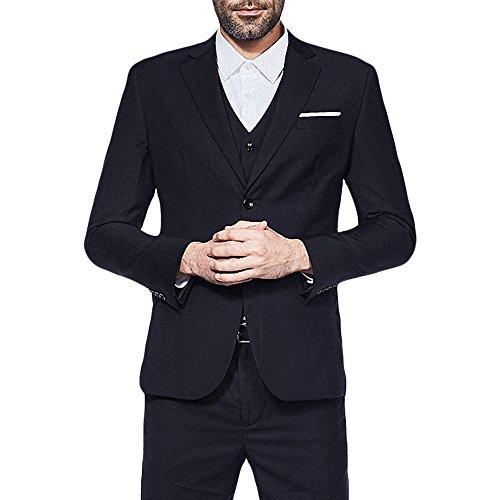 Mens Single Breasted Jacket (YIMANIE Men's Suit 3 Piece Single Breasted Jacket Two Button Slim Fit Blazer Tux Vest&Trousers)