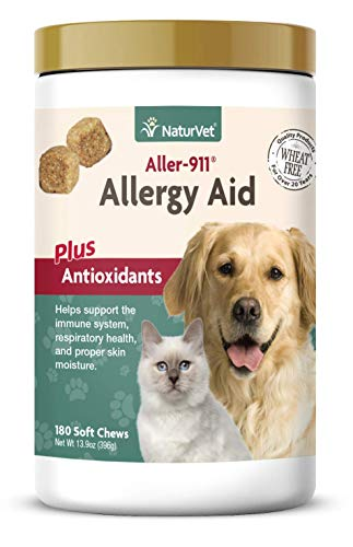 NaturVet - Aller-911 Allergy Aid Plus Antioxidants - 180 Soft Chews - Supports Immune System, Skin Moisture & Respiratory Health - Enhanced with Omegas, DHA & EPA - for Dogs & Cats