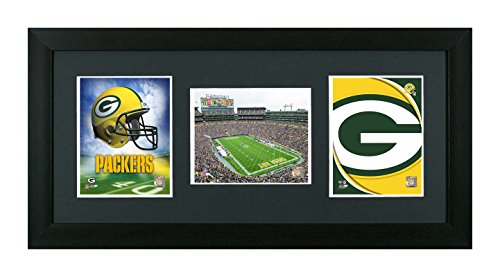 NFL. Green Bay Packers Framed Green Bay Packers NFL 3 In 1 Showcase. Helmet, Field & Logo by Skyway Gallery