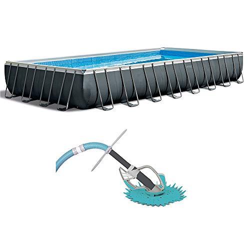 Intex 32 Foot Rectangle Ultra XTR Pool Set with Kokido Butterfly Pool Vacuum