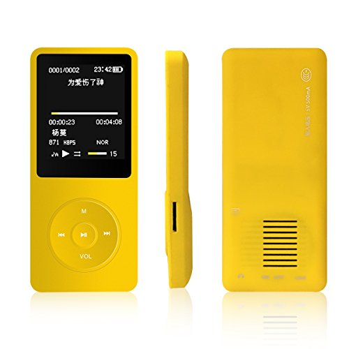 New Original M280 Big and Clear Speaker MP3 MP4 Music Player with 8GB 1.8 Inch Screen /FM/e-book/Voice recorder/50 HOURS Continuous Playback(Yellow)
