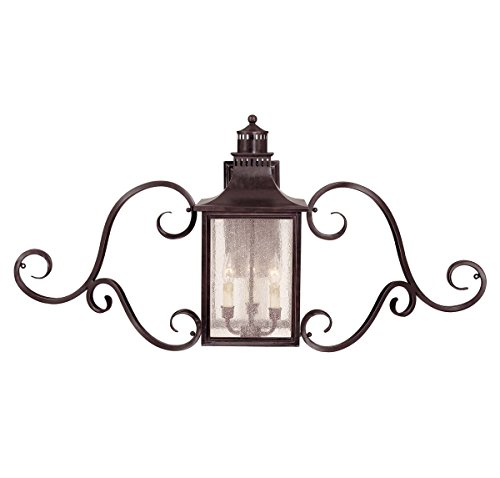 Savoy House Lighting 5-253-13 Monte Grande Collection 3-Light Outdoor Wall Mount Scroll Lantern, English Bronze Finish with Pale Cream Seeded - Entrance English Bronze