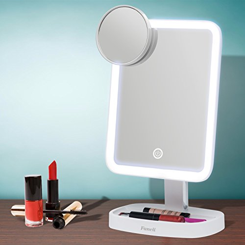 Fancii LED Makeup Vanity Mirror with 3 Light Setting and 15x Magnifying Mirror - Choose between Soft Warm, Natural Daylight, or Neutral White Lights - Dimmable Countertop Cosmetic Mirror - Aura by Fancii (Image #6)