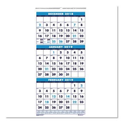 (House of Doolittle 3646 Three-Month Format Wall Calendar, 8 x 17, 2015-2016)