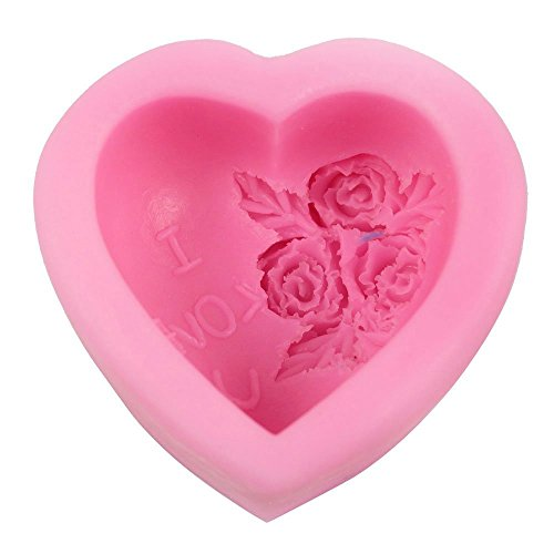 Guluote Rose Decoration Heart Craft Mold Art Silicone DIY Handmade Soap Molds ()