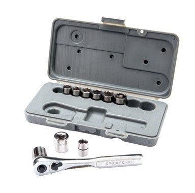 Craftsman 10 Piece 6 Pt. 3/8 Inch Dr. Metric Socket Wrench Set, - 3/8 Dr Extension Set
