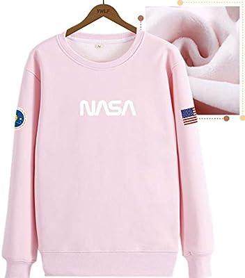 TNM Hombres & Mujeres NASA Logo Adulto Terciopelo algodón Manga ...