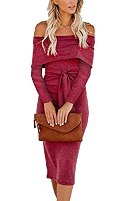 Angashion Womens Sexy Off Shoulder Long Sleeve Bodycon Midi Knit Cocktail Evening Sweater Dress with Belt