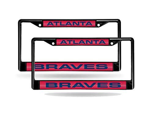 - Rico Atlanta Braves MLB (Set of 2) Black Metal Laser Cut License Plate Frames