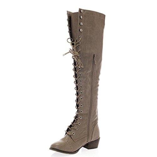 Breckelle's Women's Alabama-12 Knee High Riding Boots Beige