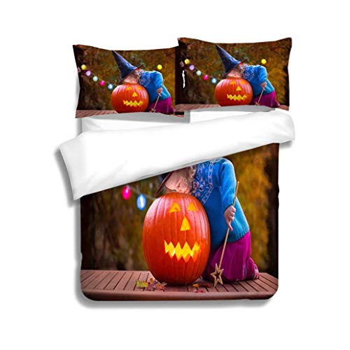 MTSJTliangwan Duvet Cover Set Kids Carving Pumpkin at Halloween 3 Piece Bedding Set with Pillow Shams, Queen/Full, Dark Orange White Teal Coral