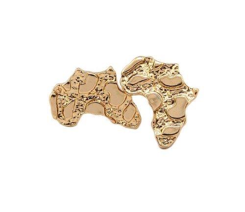 Goldtone Small Africa Nugget Stud Earrings (R-3149) by JOTW