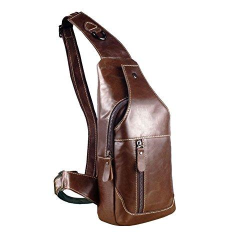RS Men's Genuine Leather Sling Bags Chest Shoulder Bag Crossbody Satchel Backpack (Brown w/o logo)