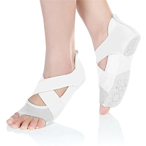 Ballet White Non Yoga Dance JOINFREE Slip Girls Shoes Womens Toe Socks Half Grip Gymnastics dOxZ6qw