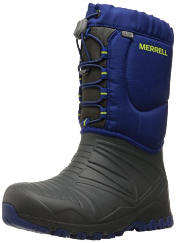 [Merrell Snow Quest Lite WTRPF Waterproof Snow Boot (Little Kid), Grey/Cobalt, 1 M US Little Kid] (Boots Shoes For Kids)