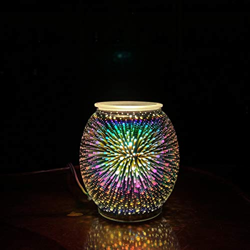 Scented Wax Warmer 3D Glass Electric Wax Burner Candle Melter Night Light for Gifts&Decor, Home, Office, Bedroom Living Room(3D Fireworks)