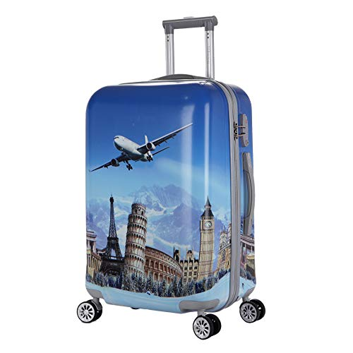20 inch Carry On Luggage Cartoon Blue Plane Eiffel Tower Landscape Painting Hardside Rolling Suitcase Travel Case Trolley Suitcase ABS+PC With Universal Wheels with Zipper for Boys Girls Tourister