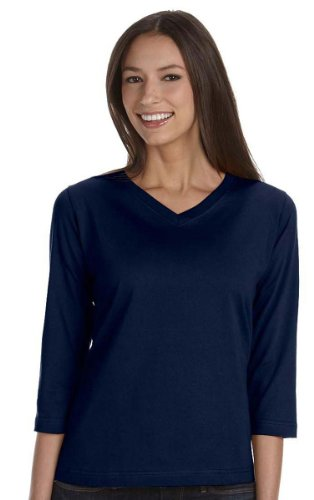 LAT Women's Stylish Topstitched Ribbed 3/4 Sleeve T-Shirt, Nvy, (Lat Ribbed T-shirt)